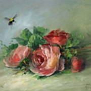 Bee And Roses On A Table Art Print