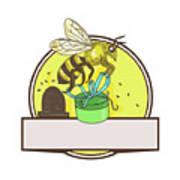 Bee Carrying Gift Box Skep Circle Drawing Art Print