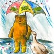 Beebs And Goosey In The Rain Art Print