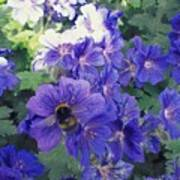 Bees And Flowers Art Print