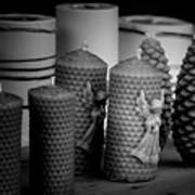 Beeswax Candles With Angels And Pinecones Art Print