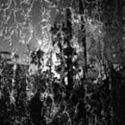 Behind A Waterfall -- B And W Art Print