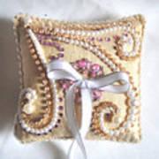Beige-white Wedding Ring Pillow Art Print