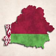 Belarus Map Art With Flag Design Art Print
