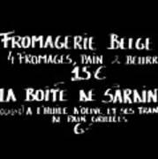 Belgian Cheese And Sardines Menu Print by Carol Groenen