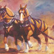 Belgian Team Pulling Horses Painting Art Print