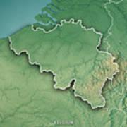 Belgium Topographic Map.Belgium Country 3d Render Topographic Map Border By Frank Ramspott
