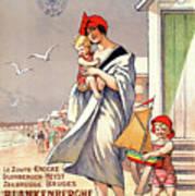 Belgium Ostende Vintage Travel Poster Restored Art Print