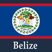 belize flag and name digital art by frederick holiday