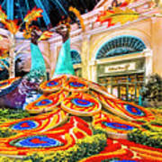 Bellagio Conservatory Fall Peacock Display Side View Wide 2 To 1 Ratio Art Print