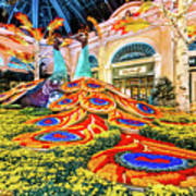 Bellagio Conservatory Fall Peacock Display Side View Wide 2017 Art Print