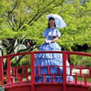 Belle On Red Bridge Art Print