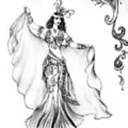 Belly Dancer With Veil. Friend Of Ameynra Art Print