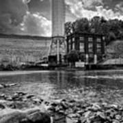 Below The Dam In Black And White Art Print