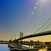 Ben Franklin Bridge From The Marina Art Print