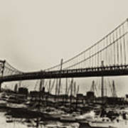 Ben Franklin Bridge From The Marina In Black And White. Print by Bill Cannon