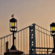 Ben Franklin Bridge In Early Morning Art Print