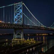 Ben Franklin Bridge In Philadelphia At Night Art Print