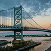Ben Franklin Bridge In Philadelphia In The Early Morning Art Print