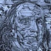 Ben In Wood Cyan Art Print