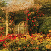 Bench - The Rose Garden Art Print