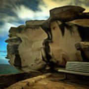 Bench And Huge Overhanging Rock Art Print