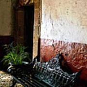 Bench In The Darkened Foyer Art Print