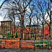 Bench View In Washington Square Park Art Print