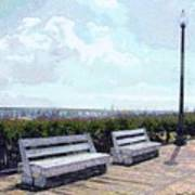 Benches Boardwalk And Lamppost 1 Art Print