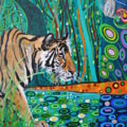 Bengal Tiger And Dragonfly Art Print