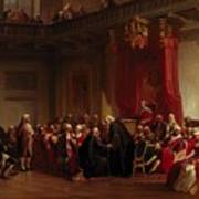 Benjamin Franklin Appearing Before The Privy Council  Art Print by Christian Schussele