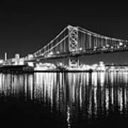 Benjamin Franklin Bridge - Black And White At Night Art Print
