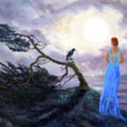 Bent Cypress And Blue Lady Art Print