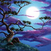 Bent Pine Tree At Moonrise Art Print