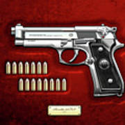 Beretta 92fs Inox With Ammo On Red Velvet  Art Print