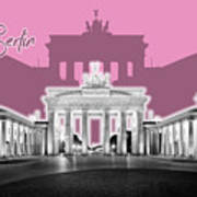 Berlin Brandenburg Gate - Graphic Art - Pink Art Print