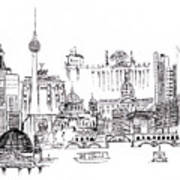 Berlin Medley Monochrome Art Print