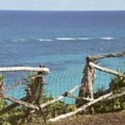 Bermuda Fence And Ocean Overlook Art Print