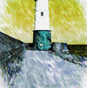 Berwick Lighthouse As Graphic Art. Art Print