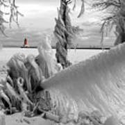 Beyond The Icy Gate - Menominee North Pier Lighthouse Art Print