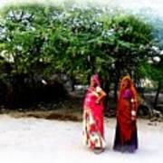 Bff Best Friends Pregnant Women Portrait Village Indian Rajasthani 1 Art Print