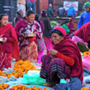 Bhaktapur Holi Market Art Print