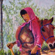 Bhutan Series - Woman With The Horse Art Print