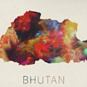 Bhutan Watercolor Map Art Print