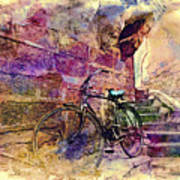 Bicycle Abandoned In India Rajasthan Blue City 1a Art Print