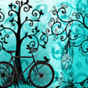 Bicycle In Whimsical Forest Art Print