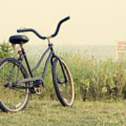 Bicycle On Beach Summer's On The Coast Art Print