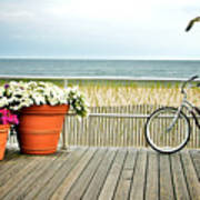 Bicycle On The Ocean City New Jersey Boardwalk. Art Print