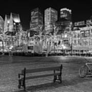 Bicycle On The Plein At Night - The Hague  Art Print