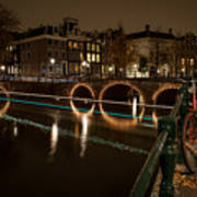 Bicycle Parked At The Canals Art Print
